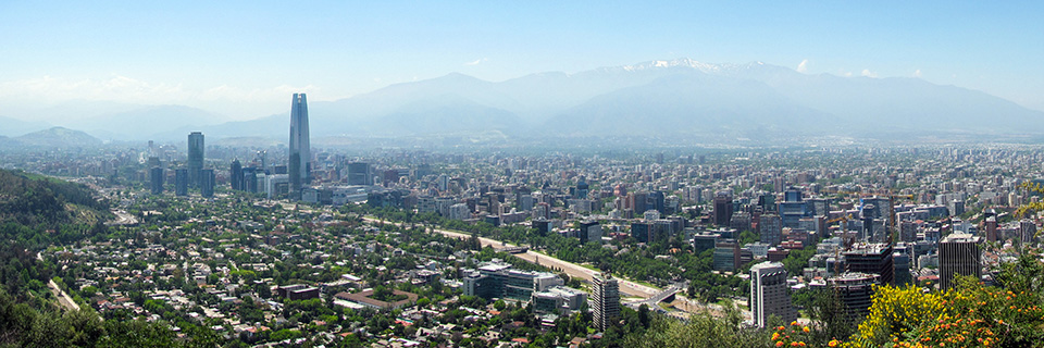 view of the Santiago, Chile cityscape and surrounding mountains