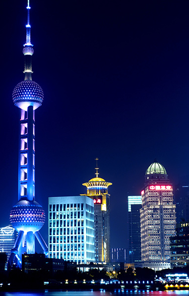 night-time view of Shanghai's Pearl Tower