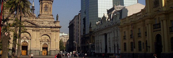 historic buildings mix with new skyscrapers in Santiago, Chile